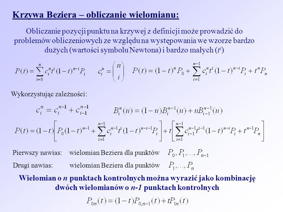 Krzywa Beziera – obliczanie wielomianu: Obliczanie pozycji punktu na krzywej z definicji może prowadzić do problemów obliczeniowych ze względu na wyst