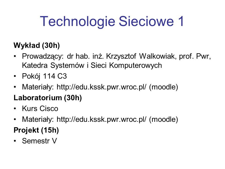Wykład (30h) Prowadzący: dr hab. inż. Krzysztof Walkowiak, prof. Pwr, Katedra Systemów i Sieci Komputerowych Pokój 114 C3 Materiały: http://edu.kssk.p
