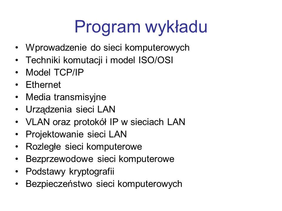 Program wykładu Wprowadzenie do sieci komputerowych Techniki komutacji i model ISO/OSI Model TCP/IP Ethernet Media transmisyjne Urządzenia sieci LAN V