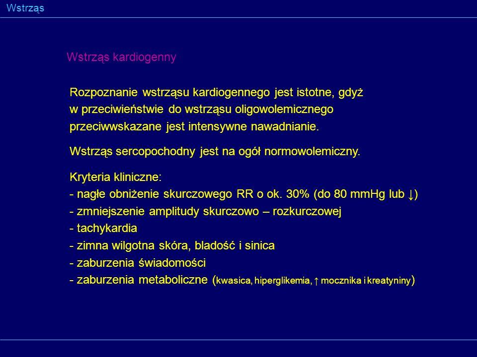 Wstrząs Wstrząs kardiogenny Rozpoznanie wstrząsu kardiogennego jest istotne, gdyż w przeciwieństwie do wstrząsu oligowolemicznego przeciwwskazane jest