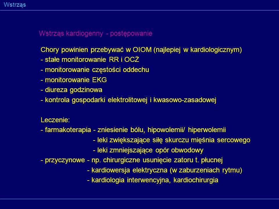 Wstrząs Wstrząs kardiogenny - postępowanie Chory powinien przebywać w OIOM (najlepiej w kardiologicznym) - stałe monitorowanie RR i OCŻ - monitorowani