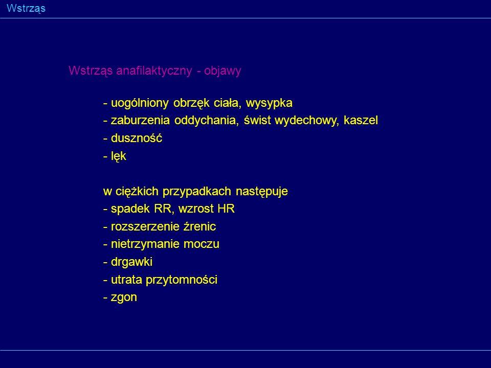 Wstrząs Wstrząs anafilaktyczny - objawy - uogólniony obrzęk ciała, wysypka - zaburzenia oddychania, świst wydechowy, kaszel - duszność - lęk w ciężkic