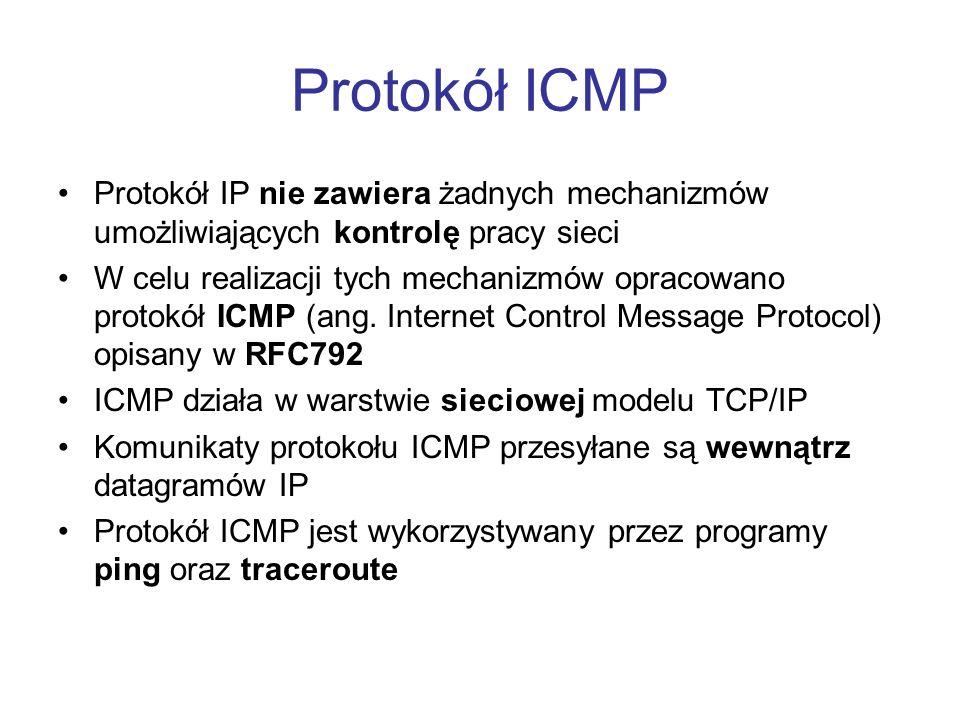 Protokół ICMP Protokół IP nie zawiera żadnych mechanizmów umożliwiających kontrolę pracy sieci W celu realizacji tych mechanizmów opracowano protokół