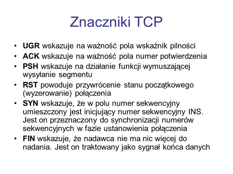 Znaczniki TCP UGR wskazuje na ważność pola wskaźnik pilności ACK wskazuje na ważność pola numer potwierdzenia PSH wskazuje na działanie funkcji wymusz
