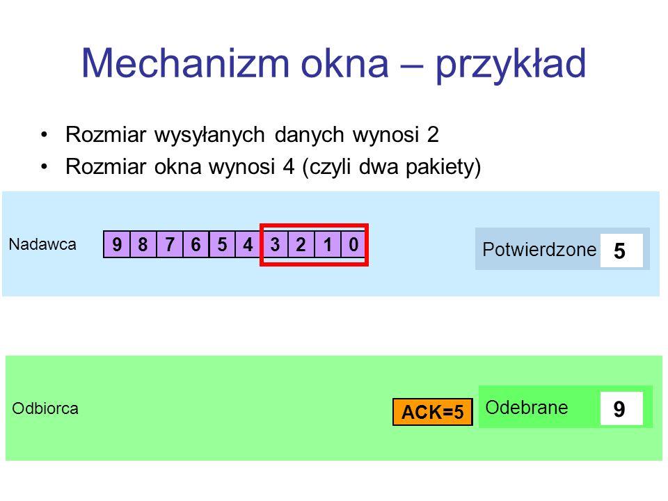 Odbiorca Nadawca Mechanizm okna – przykład Rozmiar wysyłanych danych wynosi 2 Rozmiar okna wynosi 4 (czyli dwa pakiety) 1 03 25 47 69 8 Potwierdzone A