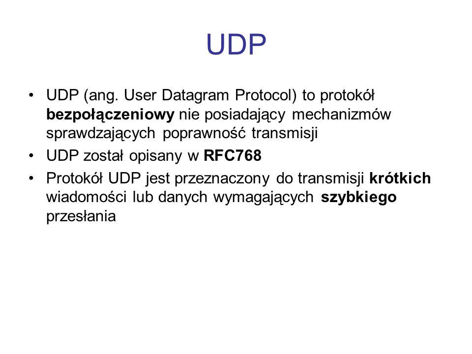 UDP UDP (ang. User Datagram Protocol) to protokół bezpołączeniowy nie posiadający mechanizmów sprawdzających poprawność transmisji UDP został opisany