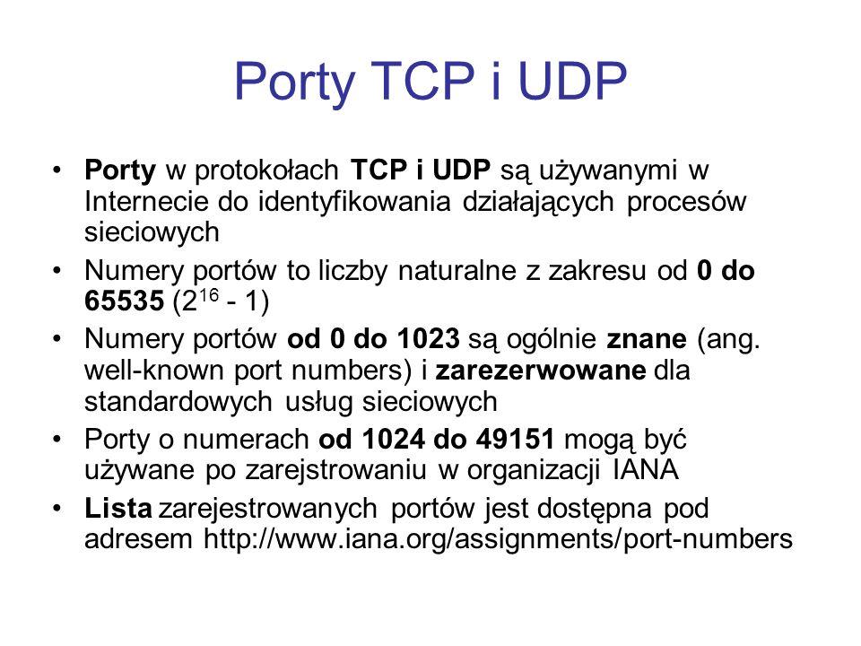 Porty TCP i UDP Porty w protokołach TCP i UDP są używanymi w Internecie do identyfikowania działających procesów sieciowych Numery portów to liczby na