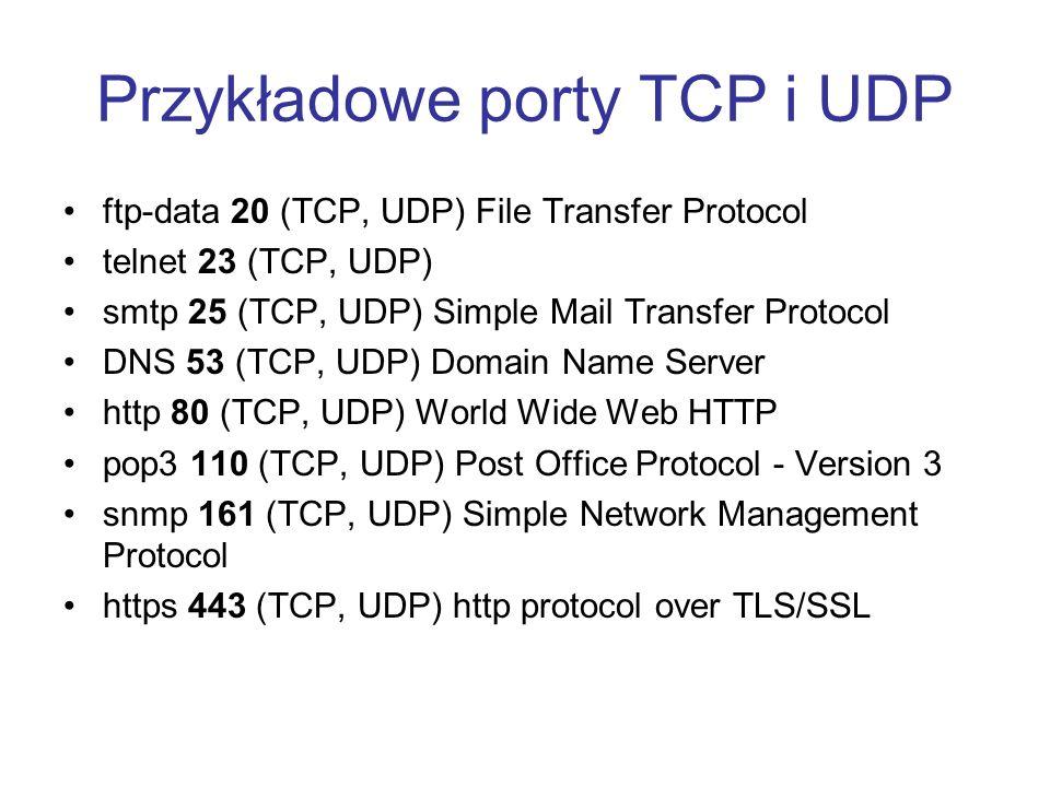 Przykładowe porty TCP i UDP ftp-data 20 (TCP, UDP) File Transfer Protocol telnet 23 (TCP, UDP) smtp 25 (TCP, UDP) Simple Mail Transfer Protocol DNS 53