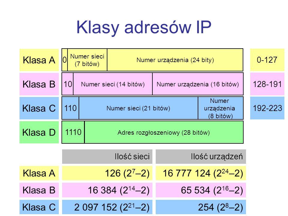 Klasy adresów IP Klasa A Klasa B Klasa C Klasa D 0 Numer sieci (7 bitów) Numer urządzenia (24 bity) Klasa A Klasa B Klasa C 126 (2 7 –2) Ilość sieciIl
