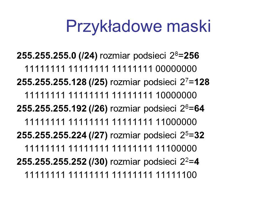 Przykładowe maski 255.255.255.0 (/24) rozmiar podsieci 2 8 =256 11111111 11111111 11111111 00000000 255.255.255.128 (/25) rozmiar podsieci 2 7 =128 11