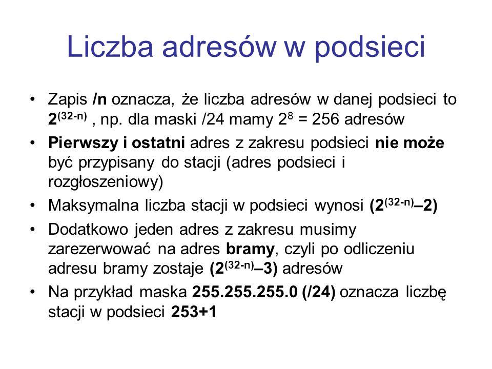 Liczba adresów w podsieci Zapis /n oznacza, że liczba adresów w danej podsieci to 2 (32-n), np. dla maski /24 mamy 2 8 = 256 adresów Pierwszy i ostatn
