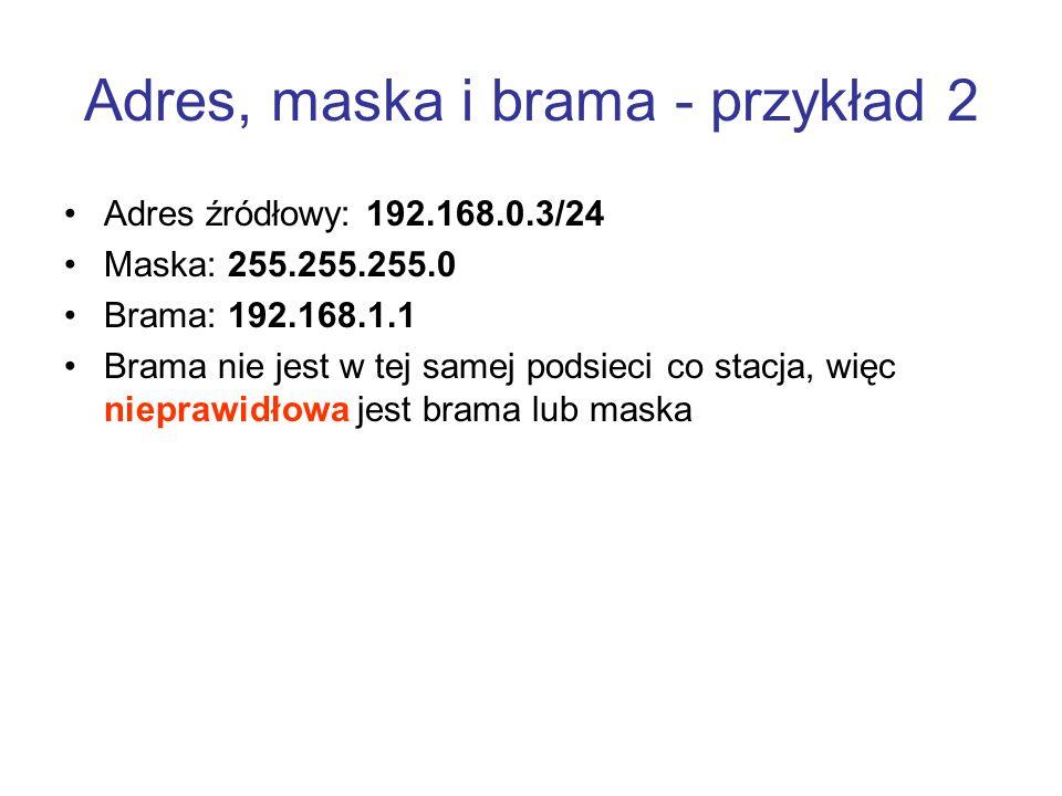 Adres, maska i brama - przykład 2 Adres źródłowy: 192.168.0.3/24 Maska: 255.255.255.0 Brama: 192.168.1.1 Brama nie jest w tej samej podsieci co stacja