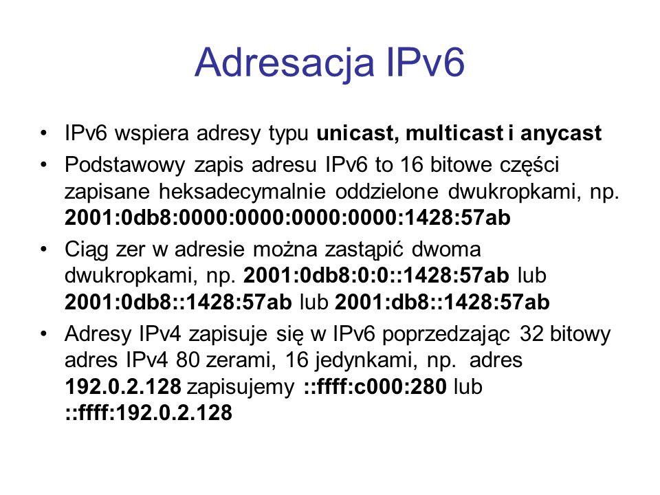 Adresacja IPv6 IPv6 wspiera adresy typu unicast, multicast i anycast Podstawowy zapis adresu IPv6 to 16 bitowe części zapisane heksadecymalnie oddziel