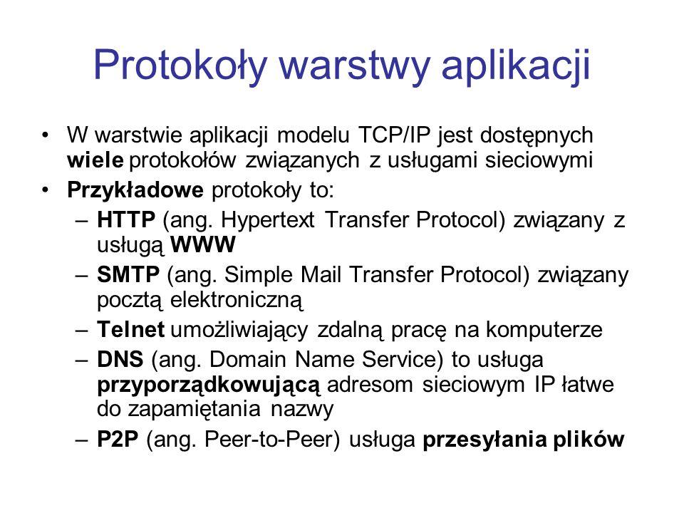 Protokoły warstwy aplikacji W warstwie aplikacji modelu TCP/IP jest dostępnych wiele protokołów związanych z usługami sieciowymi Przykładowe protokoły