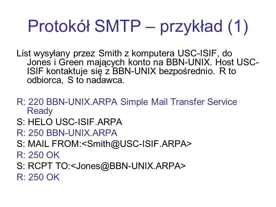 Protokół SMTP – przykład (1) List wysyłany przez Smith z komputera USC-ISIF, do Jones i Green mających konto na BBN-UNIX. Host USC- ISIF kontaktuje si