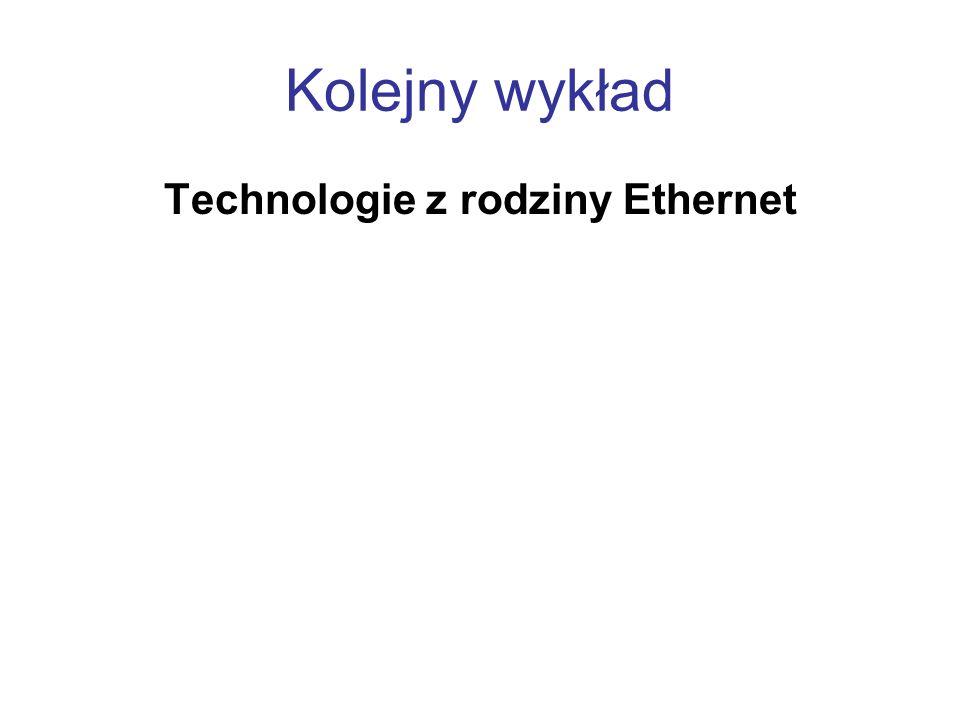 Kolejny wykład Technologie z rodziny Ethernet