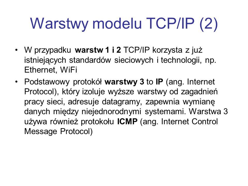Warstwy modelu TCP/IP (2) W przypadku warstw 1 i 2 TCP/IP korzysta z już istniejących standardów sieciowych i technologii, np. Ethernet, WiFi Podstawo