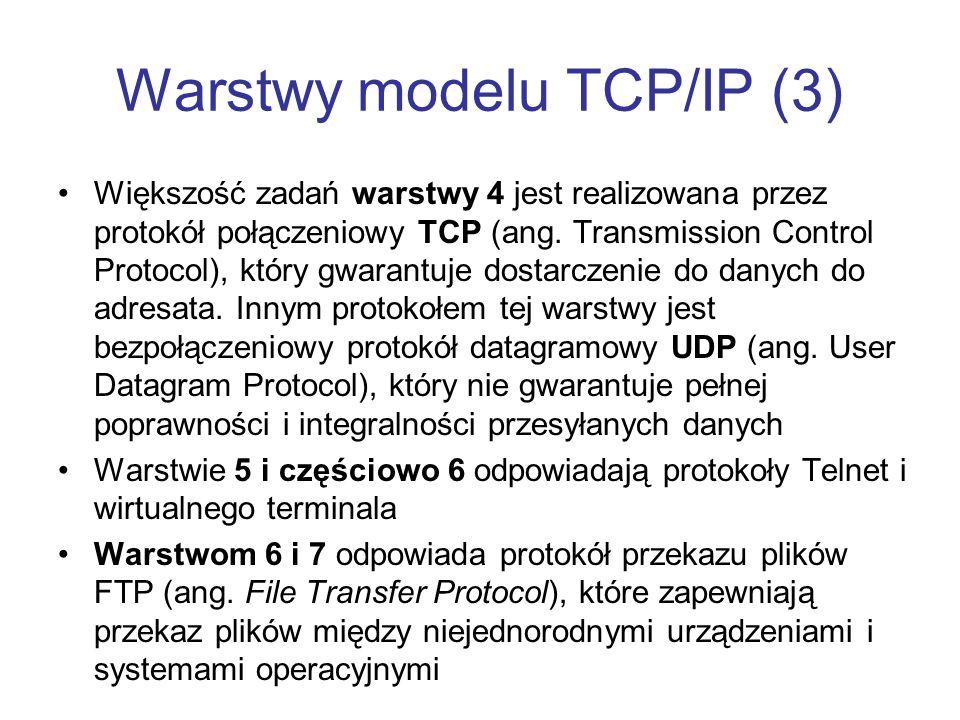 Warstwy modelu TCP/IP (3) Większość zadań warstwy 4 jest realizowana przez protokół połączeniowy TCP (ang. Transmission Control Protocol), który gwara