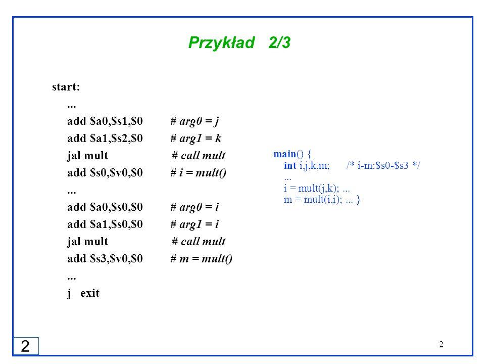 2 2 Przykład 2/3 start:... add $a0,$s1,$0 # arg0 = j add $a1,$s2,$0 # arg1 = k jal mult # call mult add $s0,$v0,$0 # i = mult()... add $a0,$s0,$0 # ar