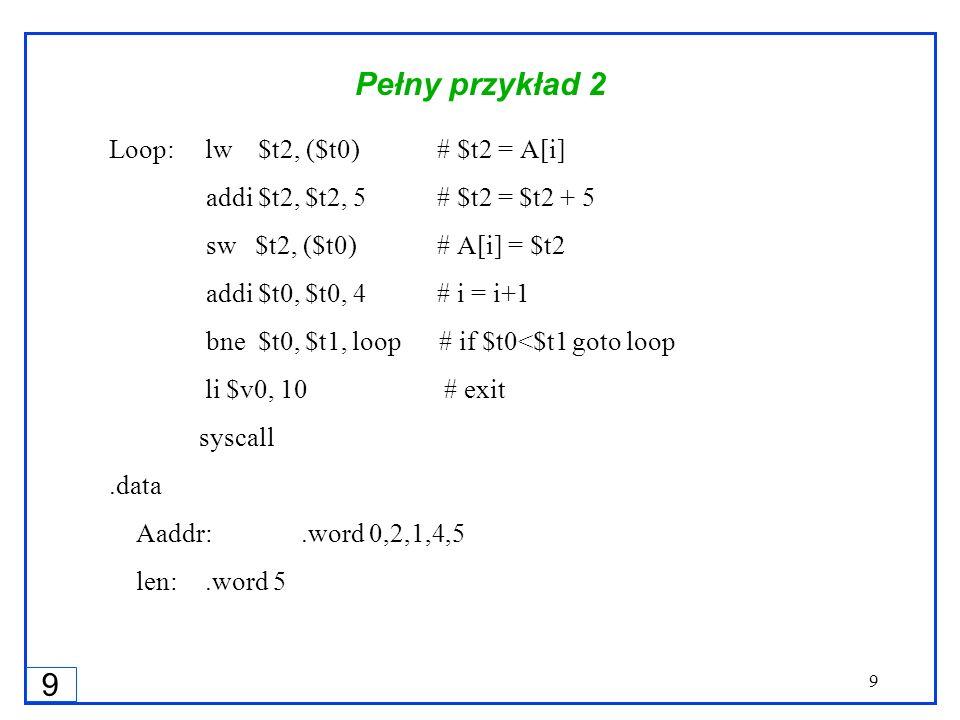 9 9 Pełny przykład 2 Loop:lw $t2, ($t0) # $t2 = A[i] addi $t2, $t2, 5 # $t2 = $t2 + 5 sw $t2, ($t0) # A[i] = $t2 addi $t0, $t0, 4 # i = i+1 bne $t0, $