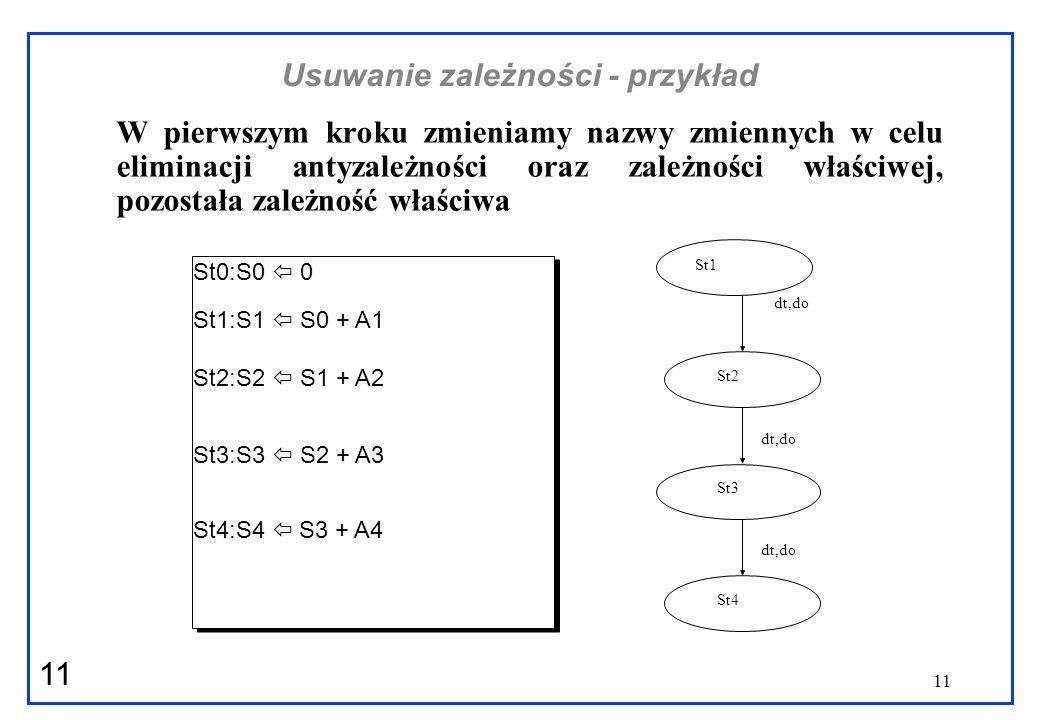 11 Usuwanie zależności - przykład W pierwszym kroku zmieniamy nazwy zmiennych w celu eliminacji antyzależności oraz zależności właściwej, pozostała za