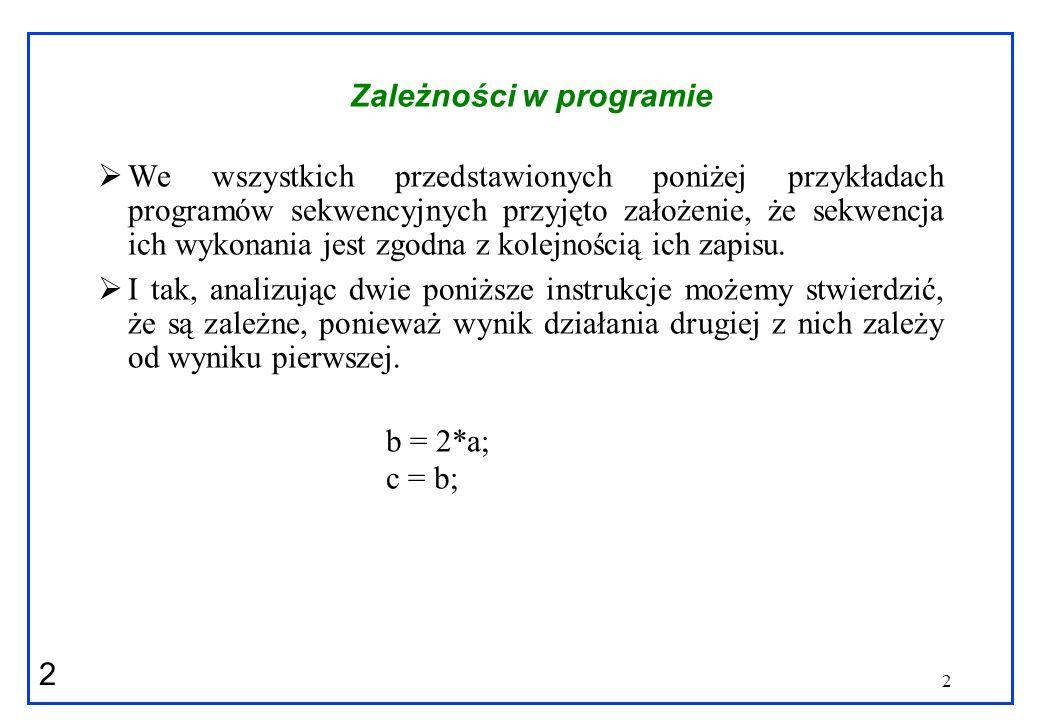 3 3 Zależności w programie Zazwyczaj wyróżnia się trzy podstawowe typy zależności: Zależność właściwa lub przepływowa (ang.