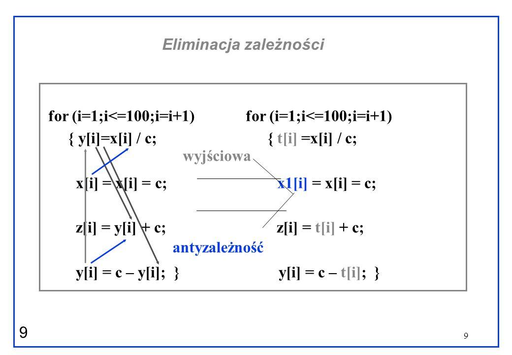9 9 Eliminacja zależności for (i=1;i<=100;i=i+1) for (i=1;i<=100;i=i+1) { y[i]=x[i] / c; { t[i] =x[i] / c; x[i] = x[i] = c; x1[i] = x[i] = c; z[i] = y