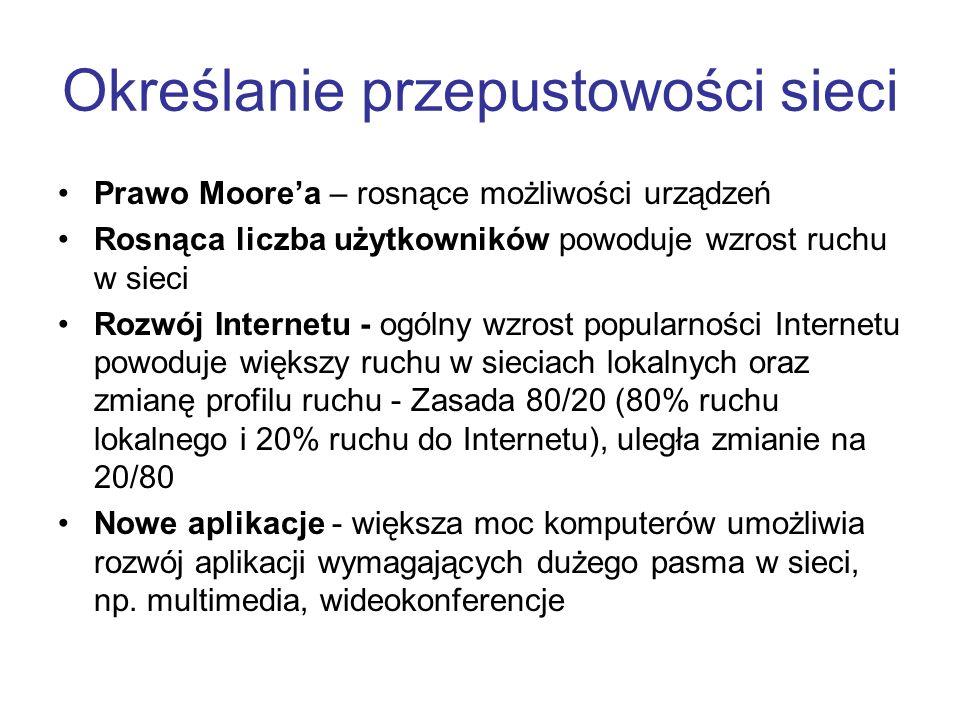Określanie przepustowości sieci Prawo Moorea – rosnące możliwości urządzeń Rosnąca liczba użytkowników powoduje wzrost ruchu w sieci Rozwój Internetu
