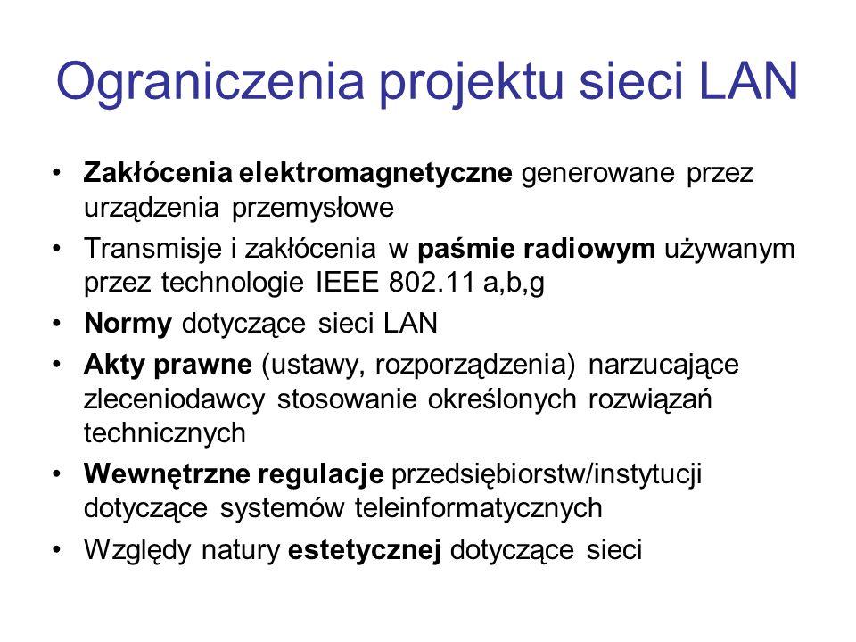 Ograniczenia projektu sieci LAN Zakłócenia elektromagnetyczne generowane przez urządzenia przemysłowe Transmisje i zakłócenia w paśmie radiowym używan