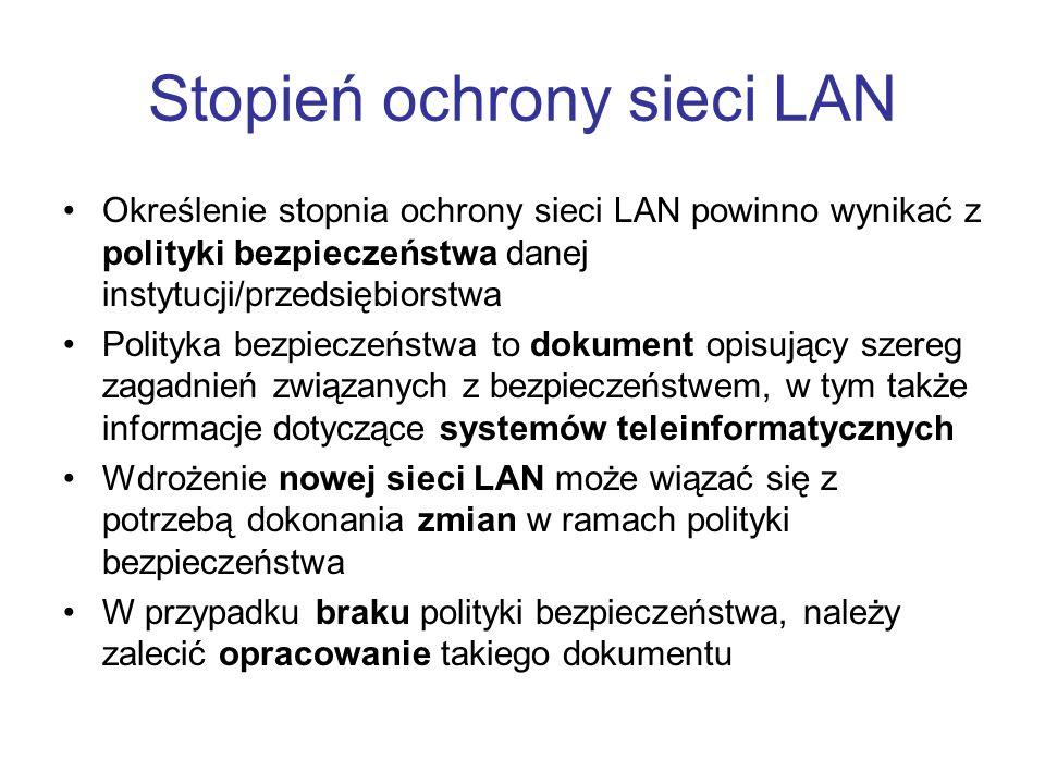 Stopień ochrony sieci LAN Określenie stopnia ochrony sieci LAN powinno wynikać z polityki bezpieczeństwa danej instytucji/przedsiębiorstwa Polityka be