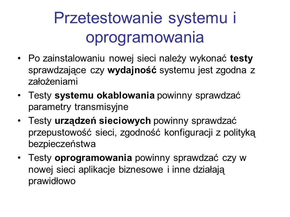 Przetestowanie systemu i oprogramowania Po zainstalowaniu nowej sieci należy wykonać testy sprawdzające czy wydajność systemu jest zgodna z założeniam
