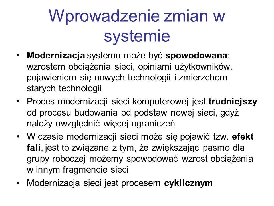Wprowadzenie zmian w systemie Modernizacja systemu może być spowodowana: wzrostem obciążenia sieci, opiniami użytkowników, pojawieniem się nowych tech
