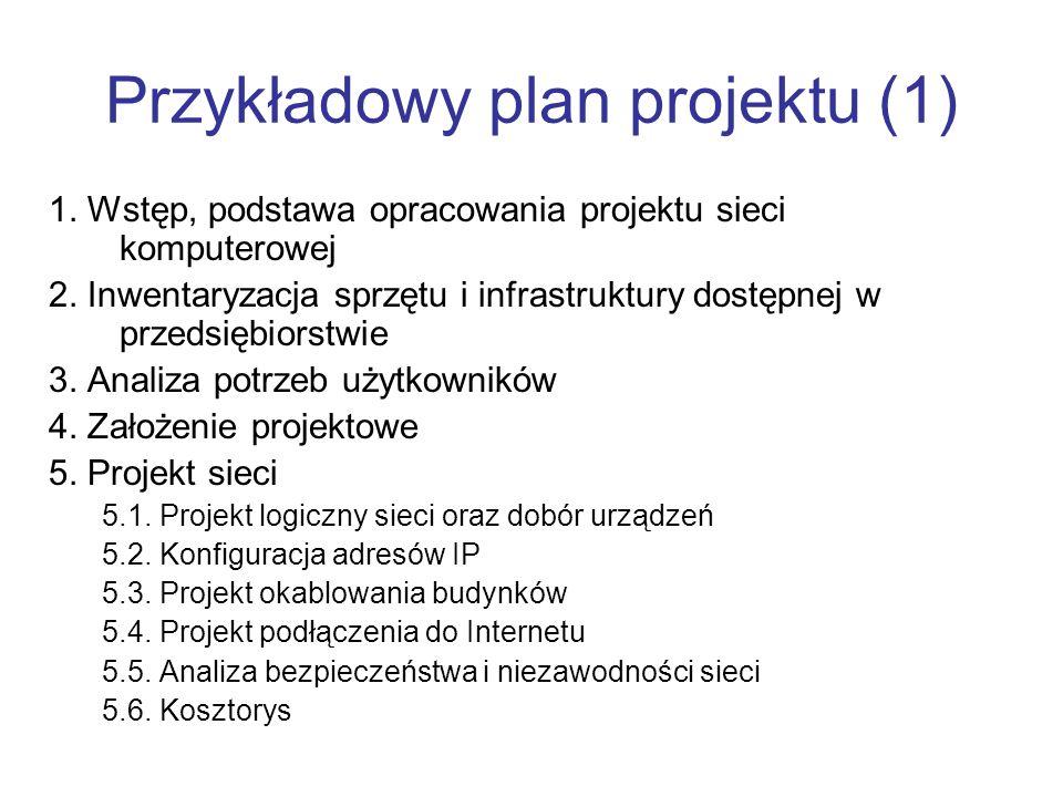 Przykładowy plan projektu (1) 1. Wstęp, podstawa opracowania projektu sieci komputerowej 2. Inwentaryzacja sprzętu i infrastruktury dostępnej w przeds