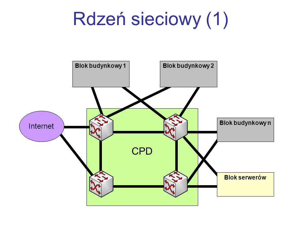 CPD Rdzeń sieciowy (1) Blok budynkowy 1Blok budynkowy 2 Blok budynkowy n Blok serwerów Internet