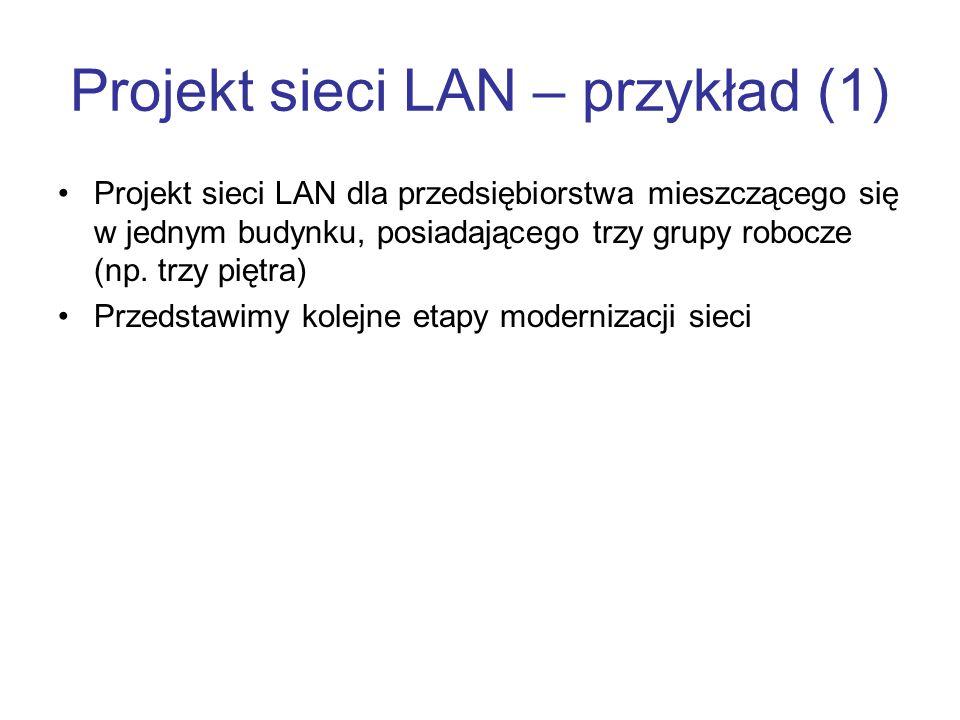 Projekt sieci LAN – przykład (1) Projekt sieci LAN dla przedsiębiorstwa mieszczącego się w jednym budynku, posiadającego trzy grupy robocze (np. trzy
