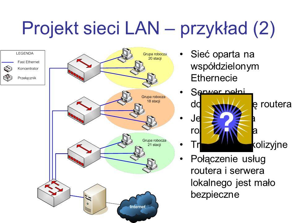 Projekt sieci LAN – przykład (2) Sieć oparta na współdzielonym Ethernecie Serwer pełni dodatkowo rolę routera Jedna domena rozgłoszeniowa Trzy domeny kolizyjne Połączenie usług routera i serwera lokalnego jest mało bezpieczne