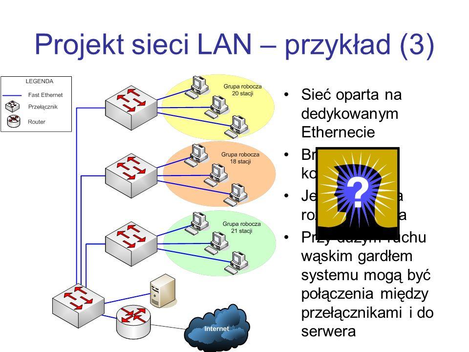 Projekt sieci LAN – przykład (3) Sieć oparta na dedykowanym Ethernecie Brak domen kolizyjnych Jedna domena rozgłoszeniowa Przy dużym ruchu wąskim gardłem systemu mogą być połączenia między przełącznikami i do serwera