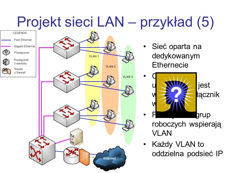Projekt sieci LAN – przykład (5) Sieć oparta na dedykowanym Ethernecie Centralnym urządzeniem jest wydajny przełącznik warstwy 3 Przełączniki grup roboczych wspierają VLAN Każdy VLAN to oddzielna podsieć IP