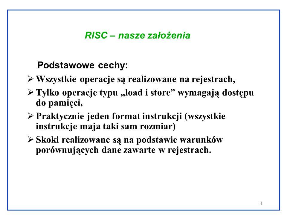 1 RISC – nasze założenia Podstawowe cechy: Wszystkie operacje są realizowane na rejestrach, Tylko operacje typu load i store wymagają dostępu do pamię