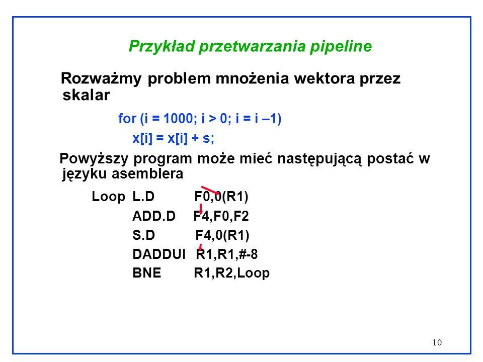 10 Przykład przetwarzania pipeline Rozważmy problem mnożenia wektora przez skalar for (i = 1000; i > 0; i = i –1) x[i] = x[i] + s; Powyższy program może mieć następującą postać w języku asemblera Loop L.D F0,0(R1) ADD.D F4,F0,F2 S.D F4,0(R1) DADDUI R1,R1,#-8 BNE R1,R2,Loop
