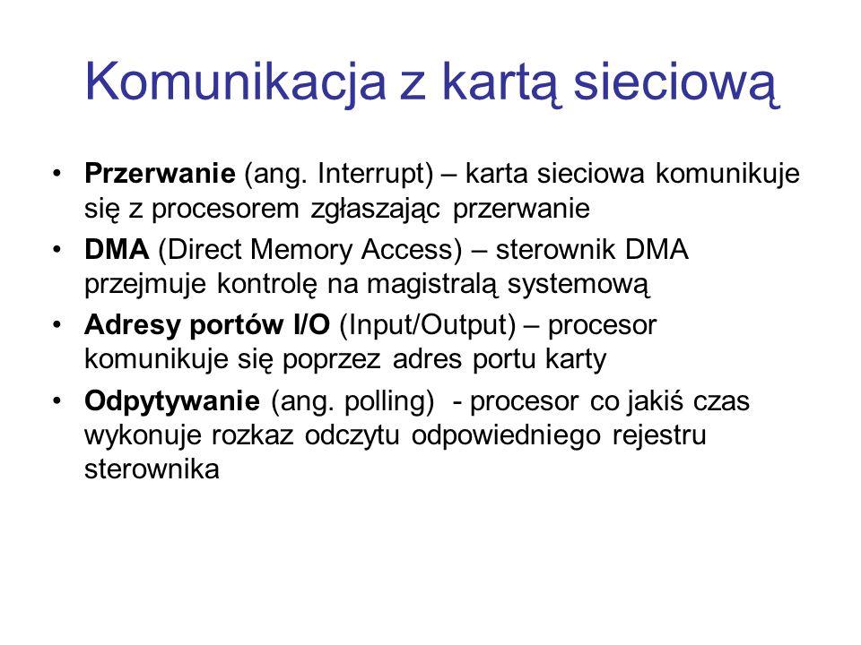 Komunikacja z kartą sieciową Przerwanie (ang. Interrupt) – karta sieciowa komunikuje się z procesorem zgłaszając przerwanie DMA (Direct Memory Access)
