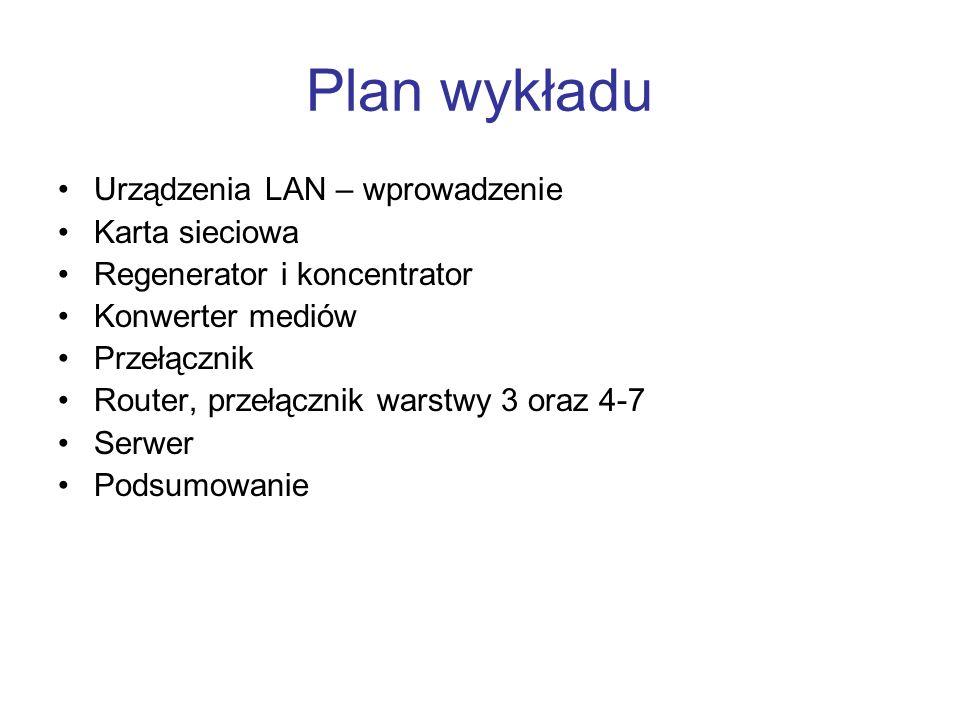 Plan wykładu Urządzenia LAN – wprowadzenie Karta sieciowa Regenerator i koncentrator Konwerter mediów Przełącznik Router, przełącznik warstwy 3 oraz 4-7 Serwer Podsumowanie