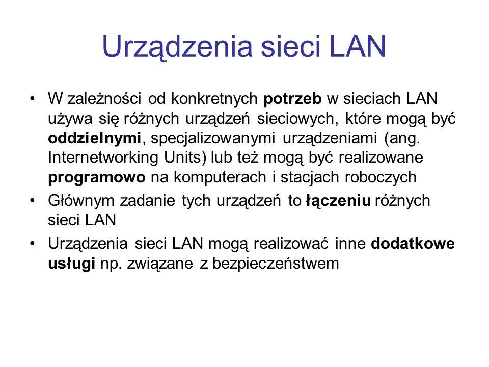 Urządzenia sieci LAN W zależności od konkretnych potrzeb w sieciach LAN używa się różnych urządzeń sieciowych, które mogą być oddzielnymi, specjalizow