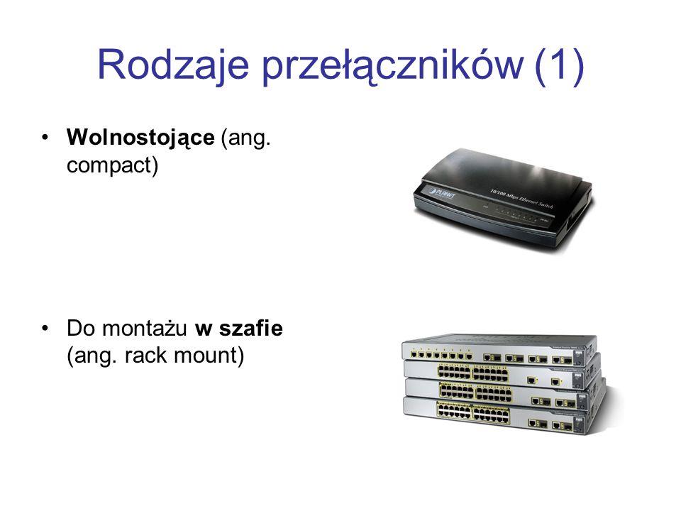 Rodzaje przełączników (1) Wolnostojące (ang. compact) Do montażu w szafie (ang. rack mount)