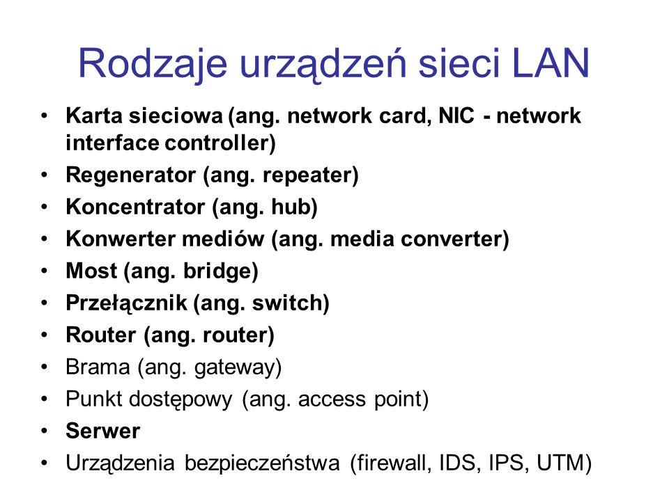 Router Router to urządzenie pracujące w trzeciej warstwie modelu ISO/OSI Służy do łączenia różnych sieci komputerowych (w sensie rozmiaru sieci, technologii, protokołów, itd.) Na podstawie informacji zawartych w nagłówku pakietu IP (adres docelowy oraz ewentualne inne pola z nagłówka IP oraz TCP/UDP) przekazuje pakiety do sieci docelowej Proces przekazywania pakietów to routing, określany po polsku jako trasowanie Routery są budowane w oparciu o dedykowane układy scalone, ale jednak dużo zadań jest wykonywana programowo