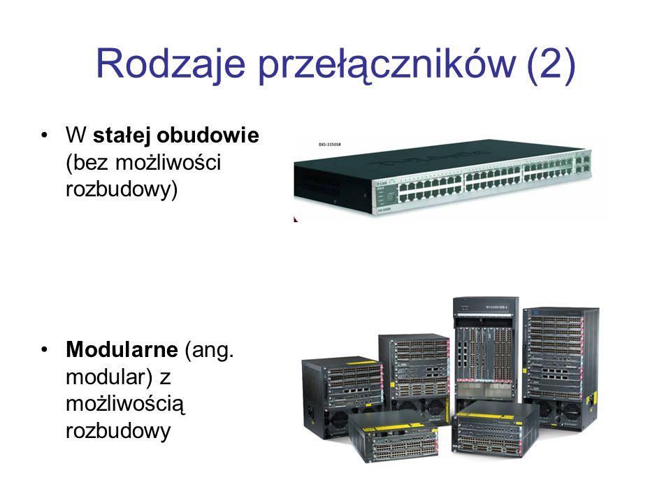 Rodzaje przełączników (2) W stałej obudowie (bez możliwości rozbudowy) Modularne (ang. modular) z możliwością rozbudowy