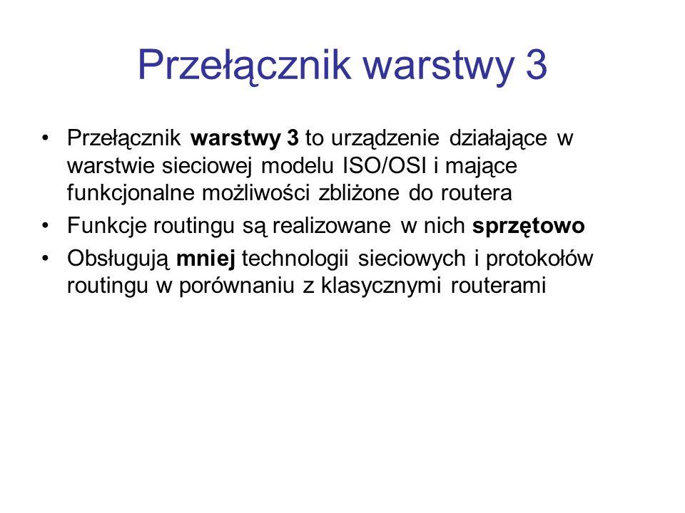 Przełącznik warstwy 3 Przełącznik warstwy 3 to urządzenie działające w warstwie sieciowej modelu ISO/OSI i mające funkcjonalne możliwości zbliżone do