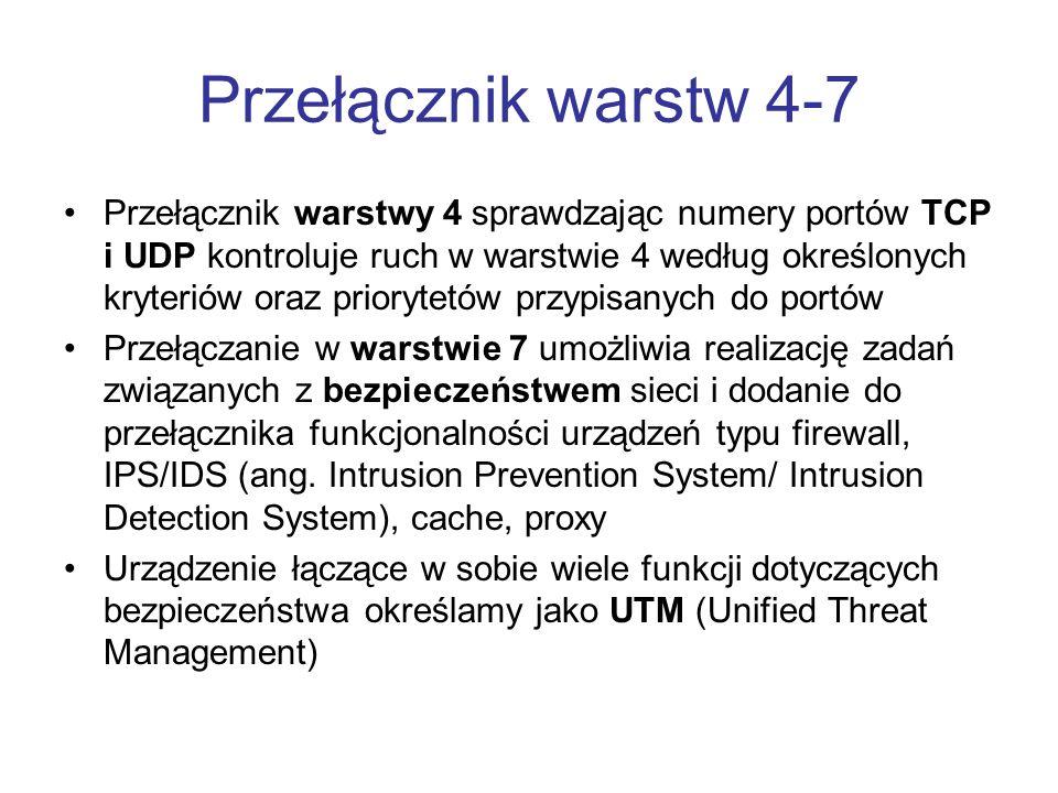 Przełącznik warstw 4-7 Przełącznik warstwy 4 sprawdzając numery portów TCP i UDP kontroluje ruch w warstwie 4 według określonych kryteriów oraz priory
