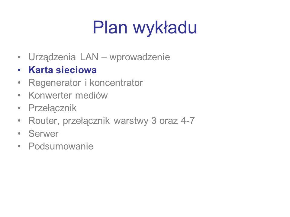 Plan wykładu Urządzenia LAN – wprowadzenie Karta sieciowa Regenerator i koncentrator Konwerter mediów Przełącznik Router, przełącznik warstwy 3 oraz 4