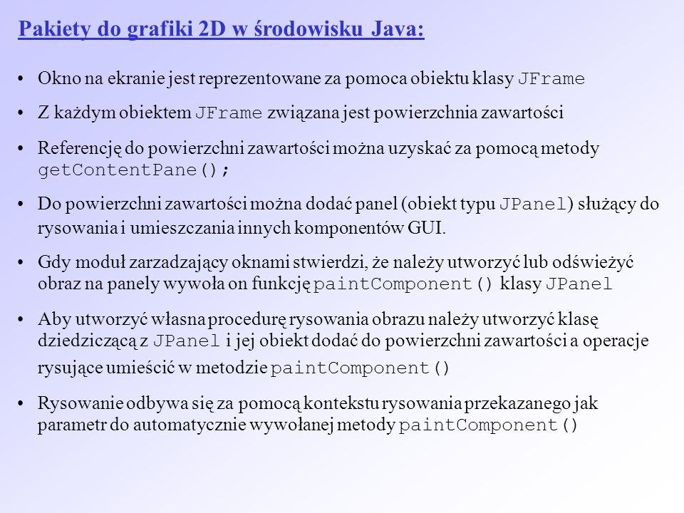 Pakiety do grafiki 2D w środowisku Java: Okno na ekranie jest reprezentowane za pomoca obiektu klasy JFrame Z każdym obiektem JFrame związana jest pow